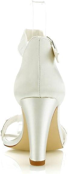 Mrs Right 5471A aux Femmes Chaussures de mari/ée Bout Ouvert Bloc Talon Dentelle satin/ée des Pompes des Sandales Chaussures de Mariage