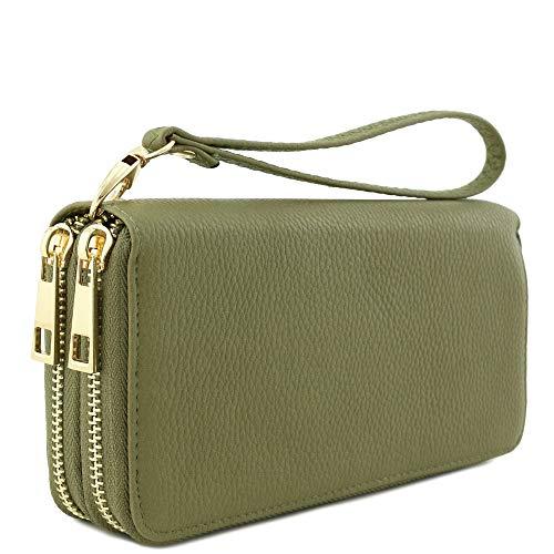 Ladies Zipper Wallet - Double Zip Around Wristlet Wallet (Olive)