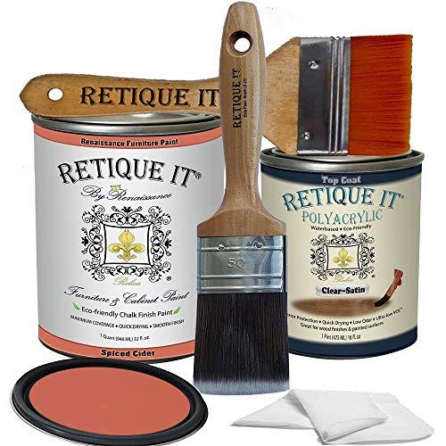 Retique It Chalk Furniture Paint by Renaissance DIY, Poly Kit, 56 Spiced Cider, 32 Ounces