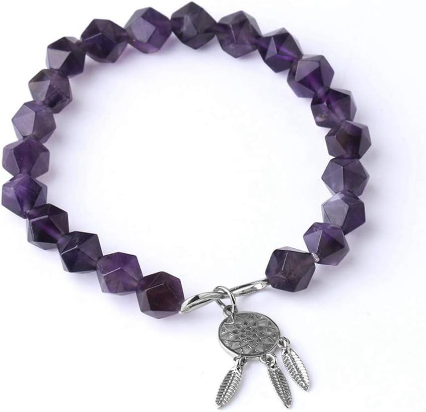 JIAXUN Pulseras Piedras Irregulares Naturales Perlas de 8 mm Corte Amatista Atrapasueños Pulseras de Cuerda elástica, Regalos de San Valentín, Regalos de Damas, Regalos de Hombres