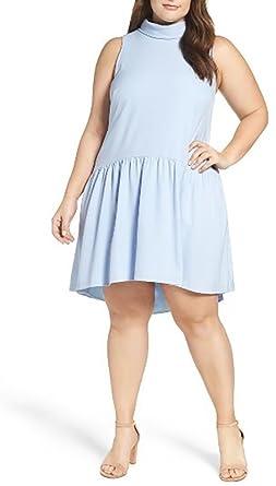 Eliza J Plus Size Drop Waist High Neck Cutout Back Dress (16W) at ...