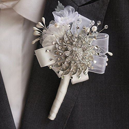 Handmade groom corsages, bestman lapel flowers,silver brooch & chiffon crystal pearl wedding tuxedo accessories groom boutineer (Chiffon Tuxedo)