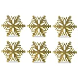 DII Napkin Rings for Christmas, Holidays, Dinners, Parties, Everyday, Set of 6, Gold Snowflake
