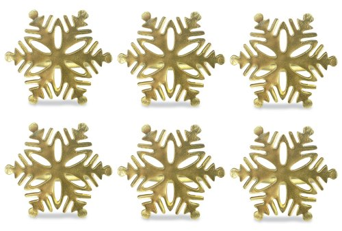 DII Modern Chic Napkin Rings for Christmas, Holidays, Dinner Parties, Weddings Receptions, or Everyday Use, Set Your Table With Style - Gold Snowflake, Set of (Antique Gold Snowflake)