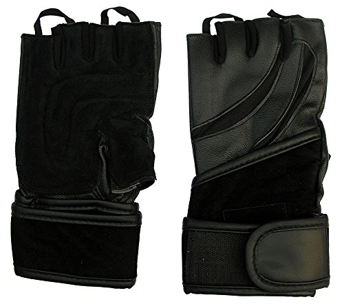 CLAXON All Leather Gym Gloves with Unique Design & Long Valvet Wrist Support, Large, Black