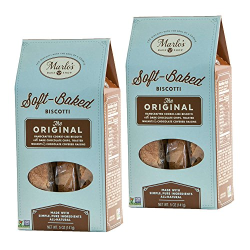 Marlo's Bakeshop | Individually Wrapped Biscotti, Original Chocolate Chip Walnut Gourmet Biscotti Cookies, Non-GMO (10 Servings)