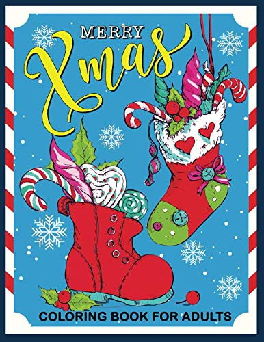 Merry Xmas Coloring Book for Adults: Christmas Collection for Stress Relieving by Rocket Publishing