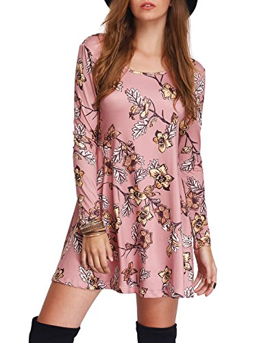 Floerns Women's Floral Printed Long Sleeve Casual Tunic Dress Pink L (Pink Printed Tunic)