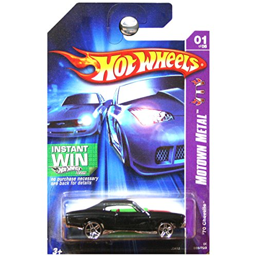 Hot Wheels 2006 Motown Metal 1970 Chevrolet Chevy Chevelle Black with Red Stripes #01