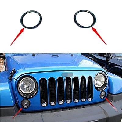 Hooke Road Black Turn Light Signal Cover Trim for 2007-2017 Jeep JK Wrangler & Unlimited - Pair