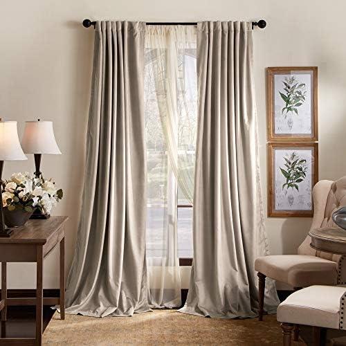 MARTHA STEWART Lucca Velvet Blackout Back Tab Window Curtain Panel Pair, 84 , Linen