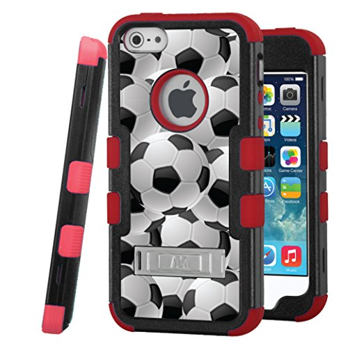 iPhone SE / iPhone 5 Case, CASECREATOR[TM] For Apple iPhone SE / iPhone 5 / iPhone 5S (AT&T, Verizon, Sprint, Cricket) -- TUFF Hybrid Stand Case Black Red-Soccer Balls