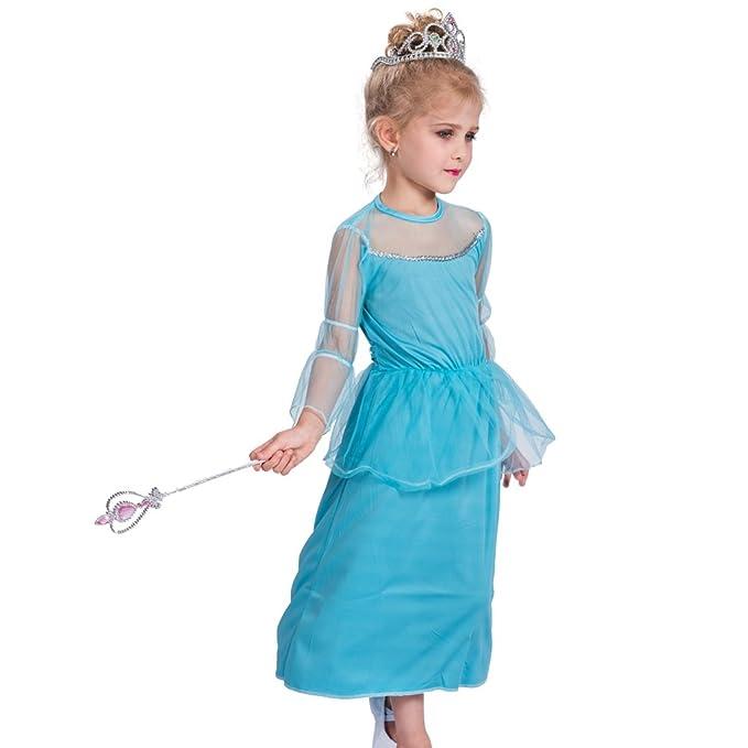 EraSpooky Vestido de Princesa Azul para Niña de Fiesta(Azul, Small)