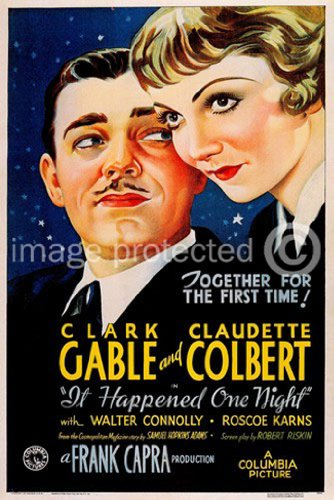 It Happened One Night 1934 Vintage Movie Poster Art Version 1 - Movie Gable Poster