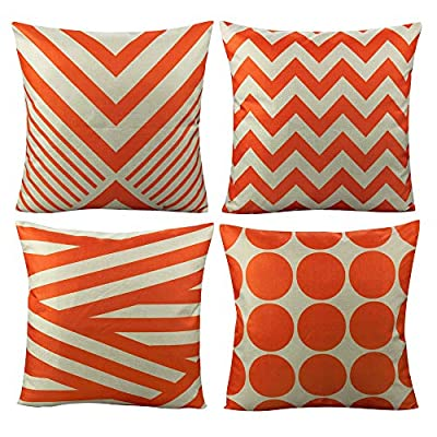 All Smiles Outdoor Patio Throw Pillow Covers Cases Indoor Furniture Decorative Cushion 18x18 Set of 4 for Home Porch Chair Couch Sofa Living Room Geometric Orange - Geometry: Zig Zag,Stripes,Circle,Chevrons,Outside Porch Garden Farmhouse Rustic Orange Color Home Décorations for Indoor/Outdoor Furniture Patio Couch Chair Car Seat,;Color:Orange Print on Beige Ground Material: Made of durable cotton blend linen,slightly rough texture,lightweight Qty: 4 pcs covers/Set of 4 (Only pillow case ,inside filler not include,The pattern is only available on the front side, the back side is Soild) - patio, outdoor-throw-pillows, outdoor-decor - 51GrTkkglqL. SS400  -