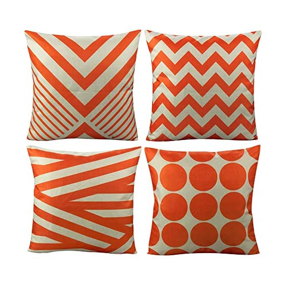All Smiles Outdoor Patio Throw Pillow Covers Cases Indoor Furniture Decorative Cushion 18x18 Set of 4 for Home Porch Chair Couch Sofa Living Room Geometric Orange - Geometry: Zig Zag,Stripes,Circle,Chevrons,Outside Porch Garden Farmhouse Rustic Orange Color Home Décorations for Indoor/Outdoor Furniture Patio Couch Chair Car Seat,;Color:Orange Print on Beige Ground Material: Made of durable cotton blend linen,slightly rough texture,lightweight Qty: 4 pcs covers/Set of 4 (Only pillow case ,inside filler not include,The pattern is only available on the front side, the back side is Soild) - patio, outdoor-throw-pillows, outdoor-decor - 51GrTkkglqL. SS570  -