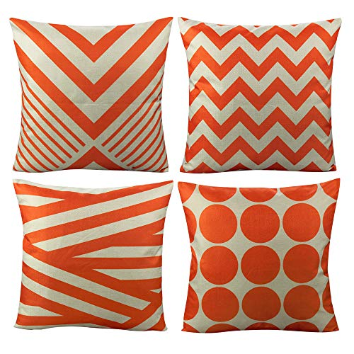 All Smiles Outdoor Patio Throw Pillow Covers Cases Indoor Furniture Decorative Cushion 18x18 Set of 4 for Home Porch Chair Couch Sofa Living Room Geometric Orange (Striped Covers Outdoor Furniture)