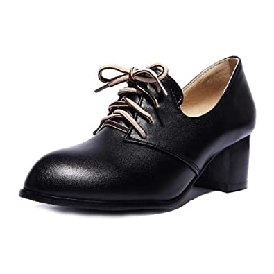 0aec187789b GIY Women s Lace Up Wingtip Oxford Shoes Pumps Pointed Toe Platform Mid  Block Heel Dress Oxfords