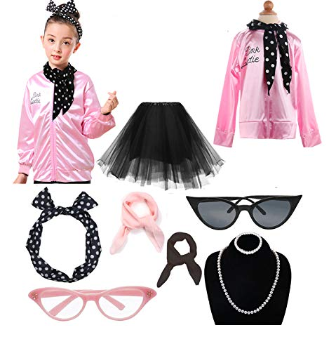 1950s Child Pink Ladies Jacket Costume Outfit Set (Rhinestone Pink, XL)