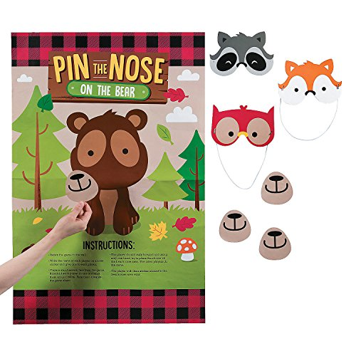 Fun Express - Woodland Party Pin The Nose On The Bear for Birthday - Toys - Games - Pin The & Bulls Eye Games - Birthday - 6 Pieces -
