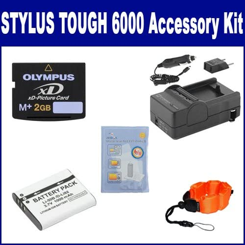 SDM-192 Charger ZE-FS10-OR Underwater Accessories XD2GB Memory Card SDLI50B Battery Olympus STYLUS 6000 Digital Camera Accessory Kit includes: ZELCKSG Care /& Cleaning