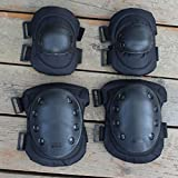 1 Set Anatomical Adult Military Tactical Elbow & Knee Safety Pads for Extreme Sports Safety Racing Enforcer BMX SWAT Skate Skateboarding Bike Game Protective Gear - Black
