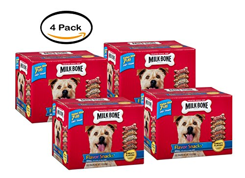 PACK OF 4 - Milk-Bone Flavor Snacks Dog Biscuits, for Small/