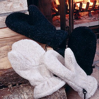 35° Below Berber Fur Mittens - White