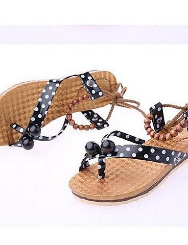 ShangYi Womens Shoes Leatherette Flat Heel Open Toe Sandals Casual Black / Red / White Red