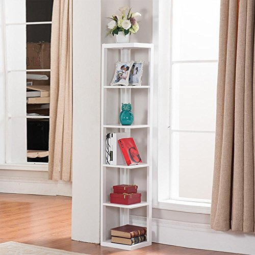 Yaheetech White Finish Wood Wall 5 Tier Tall Corner Bookshelf Bookcase Display Stand, (Antique Pine Corner Cabinet)