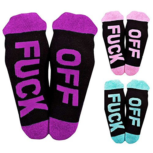 Socks Printed FUCK OFF Cotton Ribbed Knit Half Crew Socks Ferbia Unisex Embroidery Swear Word Curse Mid-calf Length Athletic Sock Stockings (Blue&Pink&Purple) by Macvise