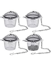 TIE-DailyNec 4PCS Tea Ball Strainer Infusers, Stainless Steel Mesh Tea Strainer Filters, Reusable Loose Leaf Tea Infusers with Extended Chain Hook, Tea Filters for Tea, Herbal, Spices, Seasonings (Small)