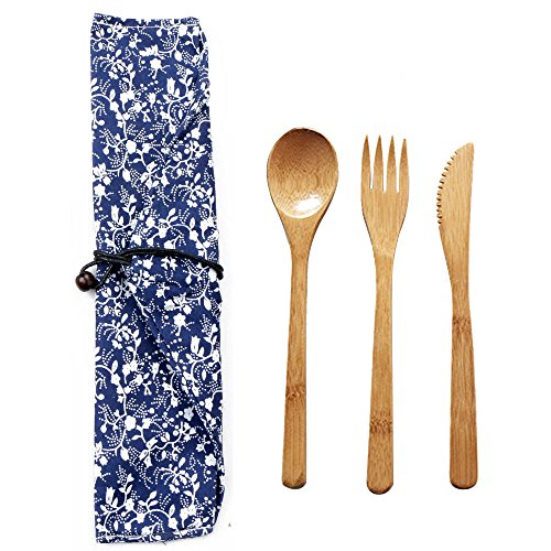 Zlimio Portable Bamboo Adult Spoon Fork Knife Tableware Flatware Utensil Set with Pouch