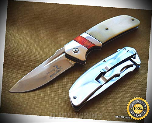 SPRING ASSISTED SHARP KNIFE REAL BONE HANDLERAZOR SHARP BLADE WITH CLIP - Premium Quality Hunting Very Sharp EMT ()