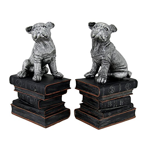 Zeckos Resin Decorative Bookends Wrinkle Dogs On Books Antique Silver Finish Decorative Bookends 5 X 9 X 3 Inches (Puppy Bookends)