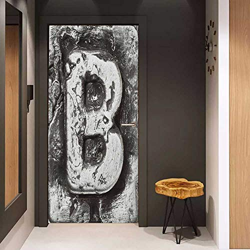 (Onefzc Glass Door Sticker Decals Letter B Steel Aged B with Toned Cracks and Distressed Effects Ceramic Inspired Print Door Mural Free Sticker W30 x H80 Silver Grey)