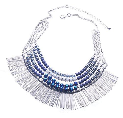 Ethnic Tribal Boho Beads Statement Necklace Fringe Bib Tassel Chunky (Blue)