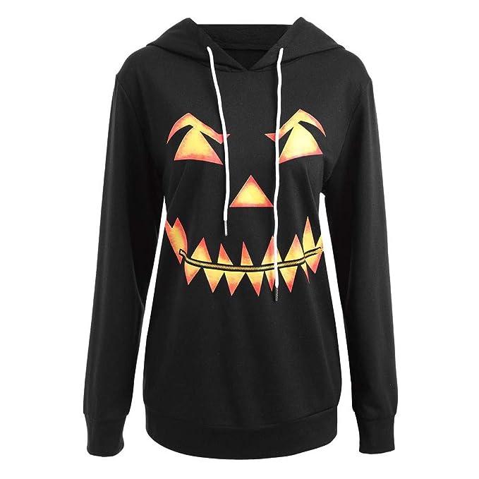 NREALY Womens Hooded Halloween Pumpkin Face Printed Drawstring Hoodie Sweatshirt Tops(S, Black)
