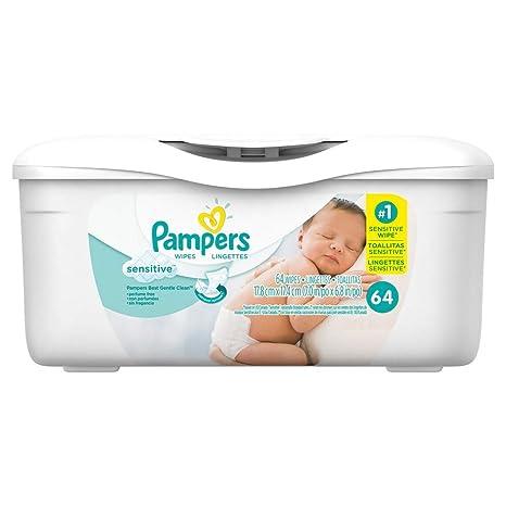 Amazon.com: Pampers Toallitas Sensitive – 64 ct, pack de 2: Baby