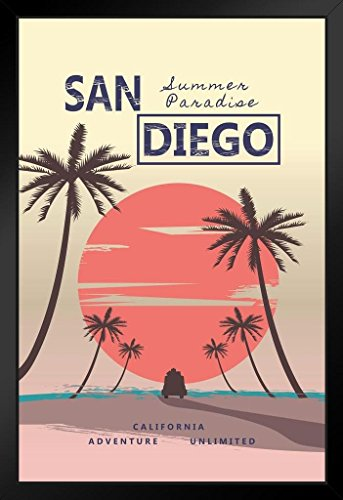 San Diego California Summer Paradise Retro Travel Framed Poster 14x20 ()
