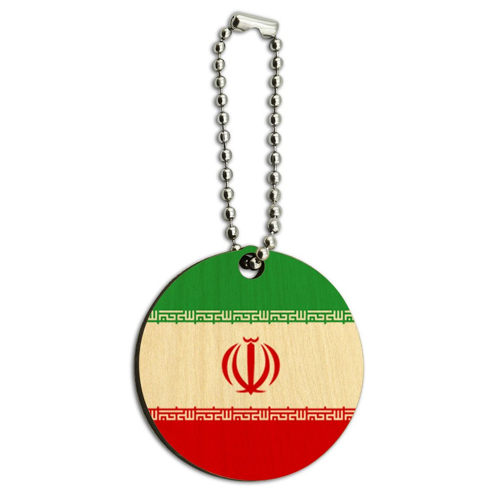 Iran National Country Flag Wood Wooden Round Key Chain