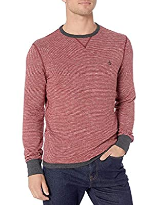 Original Penguin Men's Long Sleeve Reversible Tee, Dark Charcoal Heather, Small