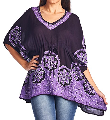 High Style Women's Short Kaftan Tunic Top Blouse with Batik Print (35637, WineLilac, S/M)