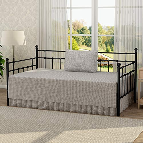 Victorian Style Platform Metal Day Bed Frame Foundation with Headboard Heavy Duty Steel Slabs Twin Size Black Finish 631