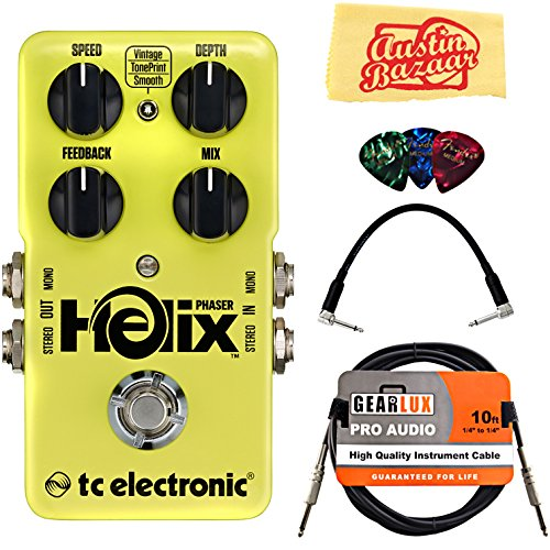 Tc Electronic Helix Phaser Bundle With Instrument Cable  Patch Cable  Picks  And Austin Bazaar Polishing Cloth
