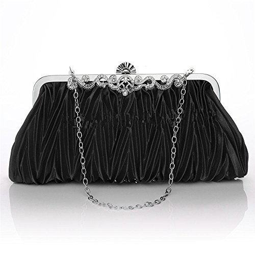 Pleated Purse Bridal Clutch Evening Party Handbag Black Cross Body Nodykka Rhinestone Bag OnHaOqv
