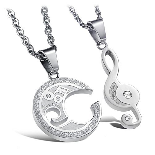 Musical Note Couple necklaces Stainless Steel Lover Pendant sliver set of 2