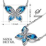 "SIVERY Valentine Day Gifts ""Butterfly"" Women Pendant Necklace with Blue Swarovski Crystals, Jewelry for Mom Gifts for Women"