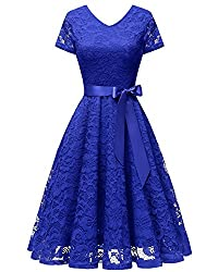 Bridesmay Women V Neck Floral Lace Cocktail Party Bridesmaid Dress With Sleeves Royal Blue Xl