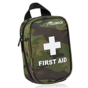 First Aid Kit for Hiking, Backpacking, Camping, Travel, Car & Cycling. With Waterproof Laminate Bags You Protect Your Supplies! Be Prepared For All Outdoor Adventures or at Home & Work (Camouflage green)